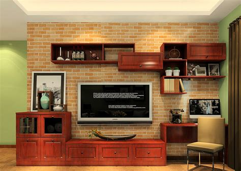 tv cabinet for living room german living room tv cabinet with red brick wallpaper