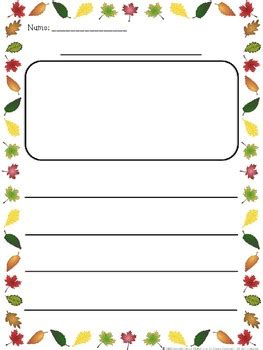 fall themed writing paper fall leaves border themed differentiated writing paper tpt