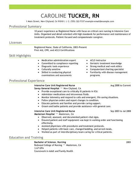 Critical Care Resume Skills Intensive Care Unit Registered Resume Exle Sle Resumes Livecareer