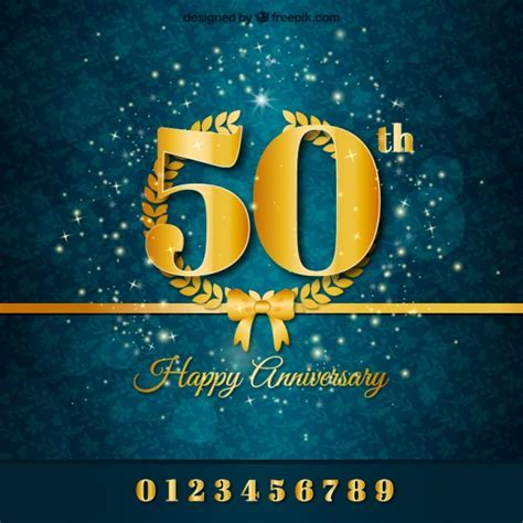 Golden anniversary background Vector   Free Download