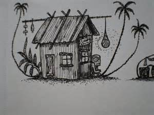 WWII Island Hut Drawing Tiki TOny  I Used This For The sketch template