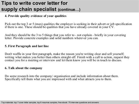 Supply Specialist Cover Letter by Supply Chain Specialist Cover Letter