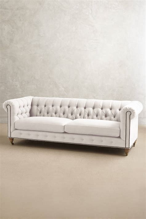 Chesterfield Linen Sofa Belgian Linen Lyre Chesterfield Sofa Wilcox Anthropologie