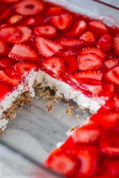 strawberry pretzel salad recipe video natashaskitchen com