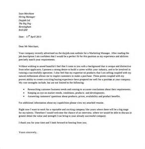 marketing covering letter exles sle marketing cover letter exle 11 free