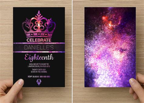 design of invitation card for debut galaxy glitter crown for her eighteenth or twenty first