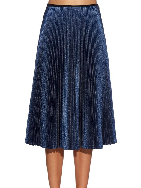 cedric charlier metallic knit pleated midi skirt in blue