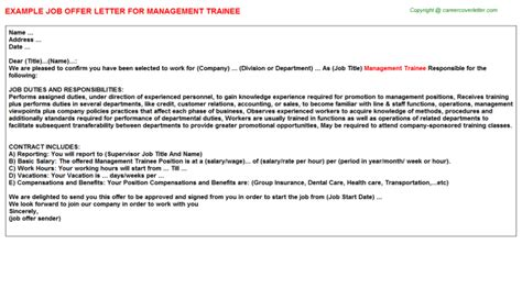 appointment letter format management trainee management trainee title