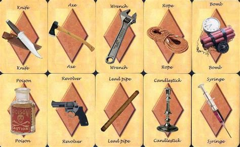 clue cards weapon template weapons deviantart and cards on