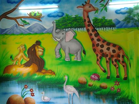 decoration painting 3d jungle theme painting service in shahdhra delhi play
