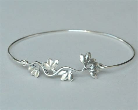 Silver Handmade Bracelets - flower vine bangle branch connector handmade jewelry