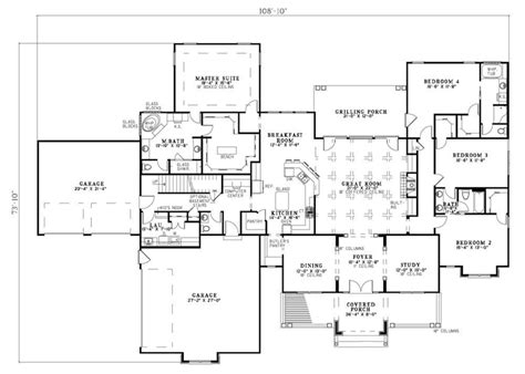 4 Bedroom Barn House Plans Floor Plan Of Craftsman Traditional House Plan 61323