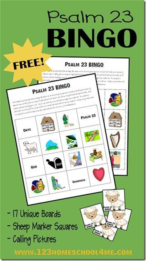 printable board games for sunday school psalm 23 bingo and psalms on pinterest