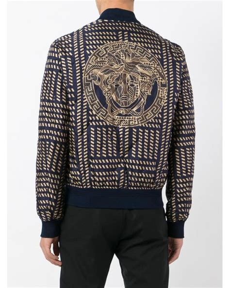 Jacket Ver Sace versace medusa print bomber jacket in blue for save