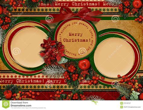 vintage christmas card  circle frame royalty  stock photography image
