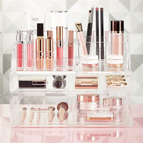 acrylic makeup storage luxe acrylic makeup storage kit the container store
