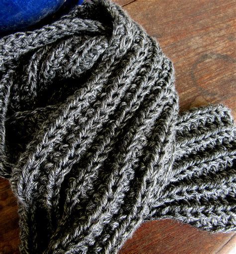is it harder to knit or crochet mens grey winter scarf knit crochet rib scarf
