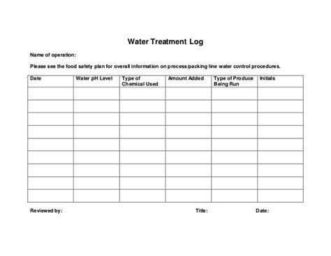Water Processing Sanitation Log Template Pool Safety Plan Template