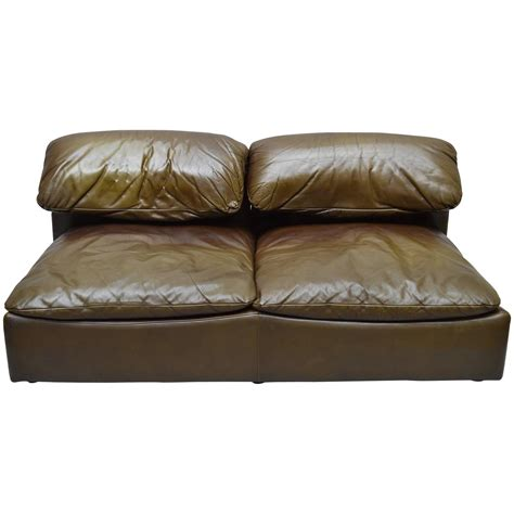 1970s roche bobois leather two seat sofa for sale at 1stdibs