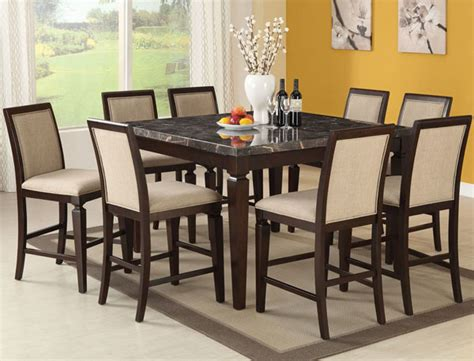 Black Marble Dining Table Set Carmine Black Marble Espresso Counter Dining Table Set