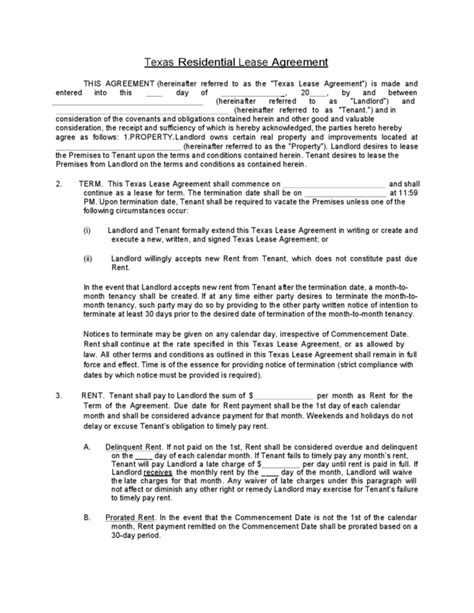 texas rental lease agreement templates legalforms org
