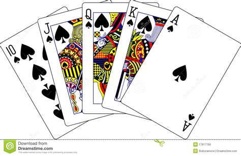 royal flush spades playing cards stock vector