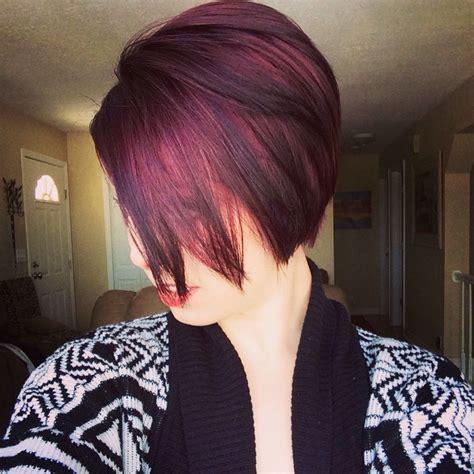 cut curl hair with cherry red colour dark cherry plum long pixie cut make up hair