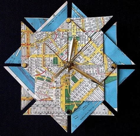 Map Origami Paper - ny city map origami clock large