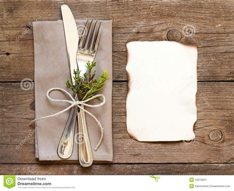 rustic dinner table settings rustic table setting and burned paper stock image