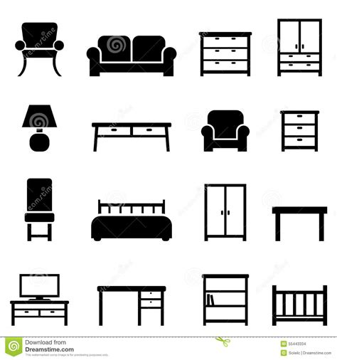 home decor and furniture icons stock vector illustration