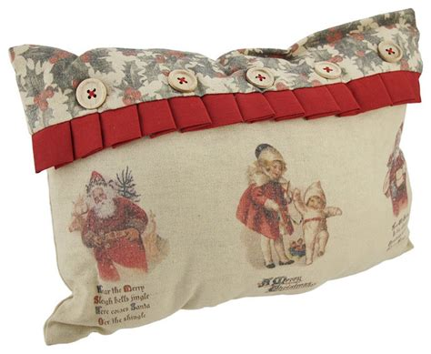 bethany lowe vintage style linen christmas throw pillow