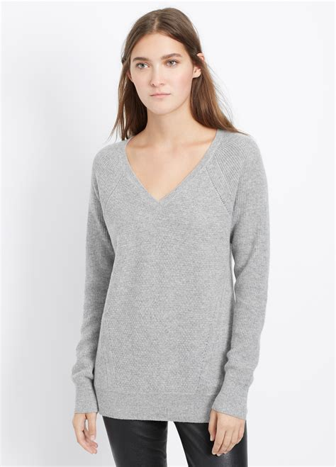 Hoodie Jumper Rebel8 Grey lyst vince multi stitch v neck sweater in gray