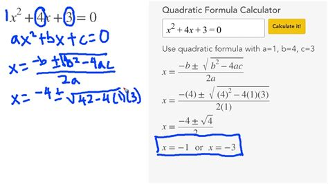 calculator equation solve each equation with the quadratic formula calculator