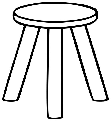 Black And White Stool Wooden Stool Black And White Clipart