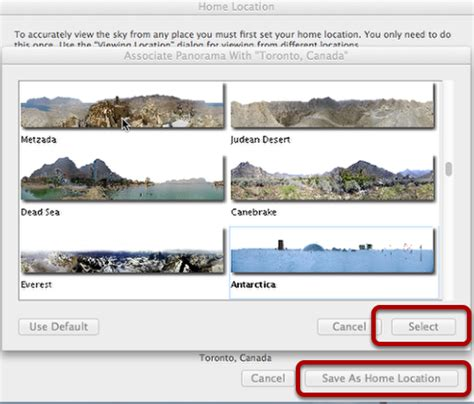 setting your home location changing panoramas