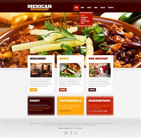 templates for restaurant website mexican restaurant website template 42181