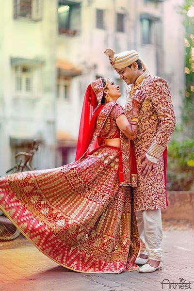 indian wedding photography red  gold bridal lehenga