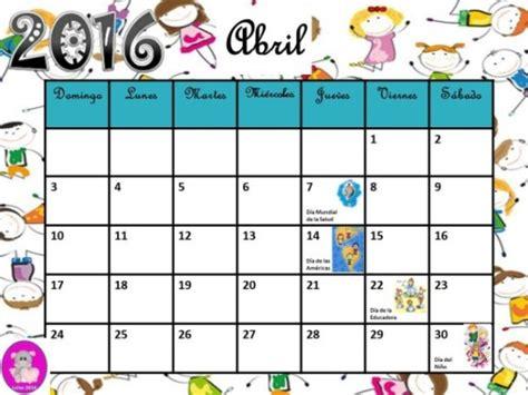 Calendario X Mes 2016 Im 225 Genes De Calendarios Infantiles De Abril 2016 Para