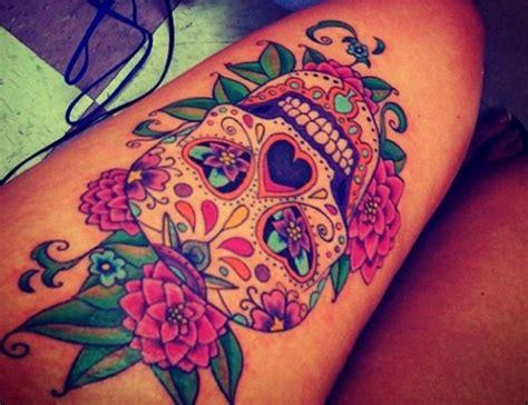 sugar skull thigh tattoos thigh images designs