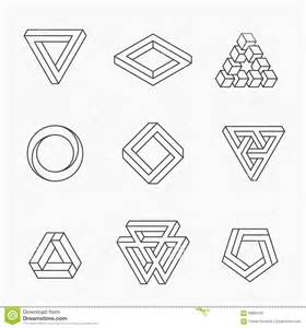 set of impossible shapes stock vector image of geometric