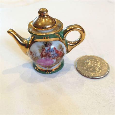 Custom Mini Teapots by Limoges Porcelain Miniature Teapot Green