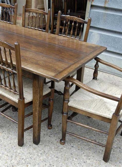 farmhouse refectory table set 8 spindleback chairs