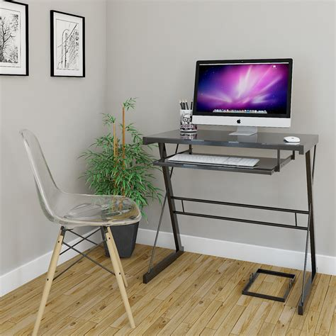 rove becker metal and glass computer desk in black