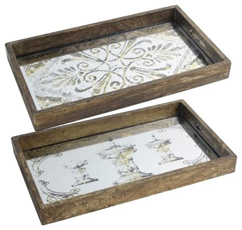 decorative serving trays set of 2 decorative wooden serving trays