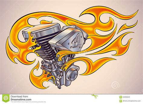 flaming motor stock vector image 64600503