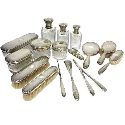 antique louis coignet silver vanity dresser set for sale