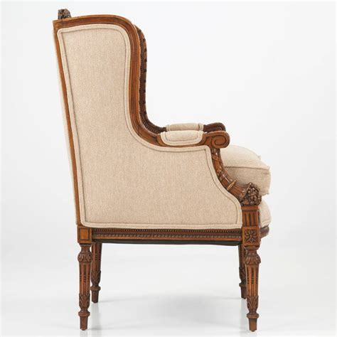 vintage wingback armchair french carved mahogany antique wingback armchair 19th