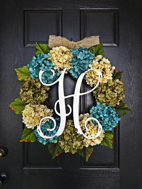 large hydrangea door wreaths large full customizeable hydrangea door wreath for spring