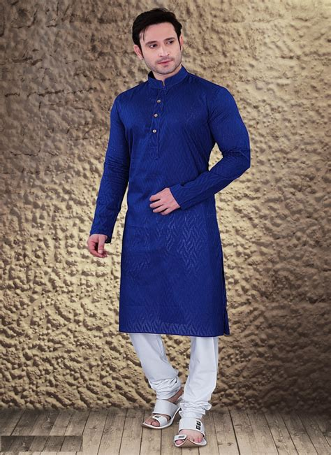 46 Tefity Set 3in1 Royalblue ethnic royal blue cotton jacquard kurta set
