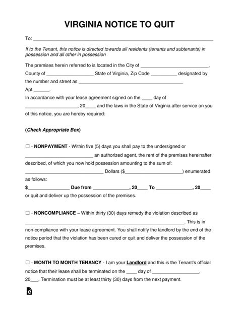Free Virginia Eviction Notice Forms Process And Laws Pdf Word Eforms Free Fillable Forms Pay Or Quit Notice Virginia Template